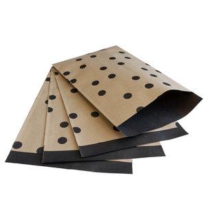 Levering uit voorraad 200x papieren zakjes Bruin kraft Stippen 17x25cm