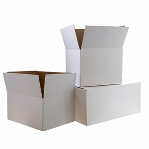 Levering uit voorraad Kartonnen dozen wit dubbelgolf EB 590x400x295mm + rillijn