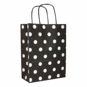 Levering uit voorraad 50x papieren tasjes Zwart + Witte stippen A5