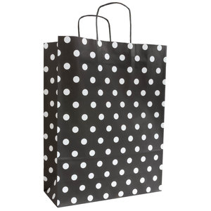 Levering uit voorraad 50x papieren tasjes Zwart + Witte stippen A3