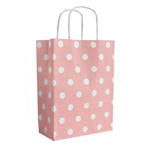 Levering uit voorraad 50x papieren tasjes Roze + Witte stippen A5