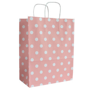 Levering uit voorraad 50x papieren tasjes Roze + Witte stippen A4