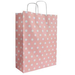 Levering uit voorraad 50x papieren tasjes Roze + Witte stippen A3