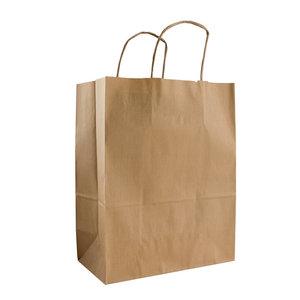 Levering uit voorraad 50x papieren tassen Bruin kraft 45x15x49cm