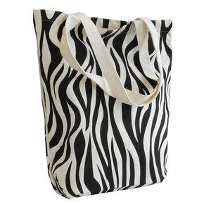 Levering uit voorraad 10x canvas shopper Zebra