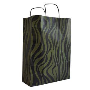Levering uit voorraad 50x papieren tasjes Zebra Groen A3