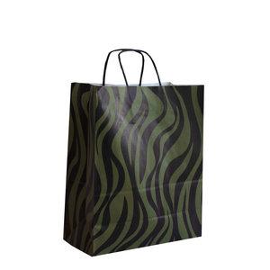 Levering uit voorraad 50x papieren tasjes Zebra Groen A4
