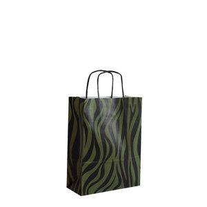 Levering uit voorraad 50x papieren tasjes Zebra Groen A5