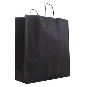 Levering uit voorraad 50x papieren tasjes Zwart 45x15x49cm