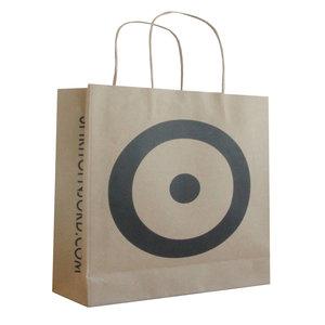 Levertijd ca. 2 weken Papieren tassen Bruin 24x9x24cm zwart bedrukt