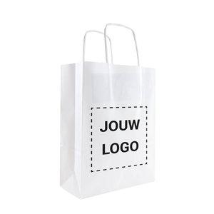 Levertijd ca. 2 weken Papieren tassen A5 Wit met 1 of 2 kleuren bedrukt