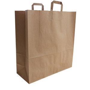 Levering uit voorraad 50x budget tassen bruin brede bodem staand XXL