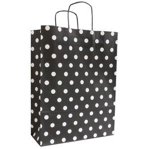 Levering uit voorraad 50x papieren tasjes Zwart + Witte stippen A4