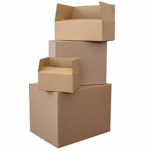 Levering uit voorraad Kartonnen dozen bruin enkelgolf 395x300x135mm