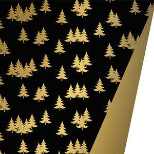 Levertijd ca. 5 werkdagen Inpakpapier Kerstbomen Zwart Goud 50cm x 175mtr