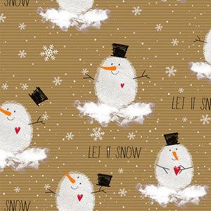 Levertijd ca. 5 werkdagen Inpakpapier Vrolijke Sneeuwman 30cm x 250mtr