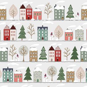 Levertijd ca. 5 werkdagen Inpakpapier Winter Huisjes 30cm x 200mtr