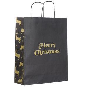 Levering uit voorraad 50x papieren Kersttasjes A3 Golden Reindeer