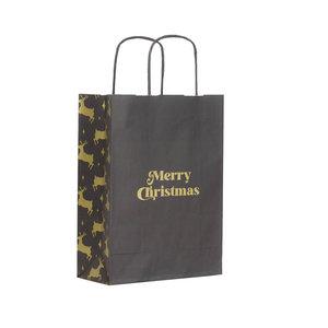 Levering uit voorraad 50x papieren Kersttasjes A5 Golden Reindeer