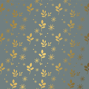 Levertijd ca. 5 werkdagen Inpakpapier Leaves Grijs Goud 30cm x 200mtr
