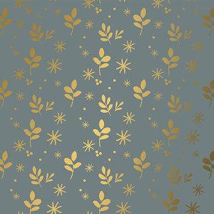 Levertijd ca. 5 werkdagen Inpakpapier Leaves Grijs Goud 50cm x 200mtr