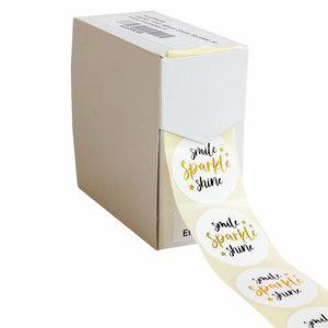 Levering uit voorraad 500x sticker 'Smile Sparkle Shine' 40mm