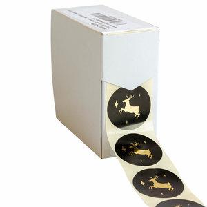 Levering uit voorraad 500x sticker Golden Reindeer 40mm