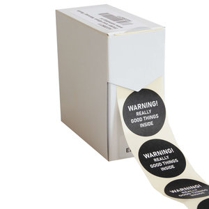 Levering uit voorraad 500x sticker 'Warning! Really Good Things Inside' 40mm