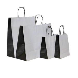 Levering uit voorraad 50 x Papieren tassen witte kraft met bio color zwart