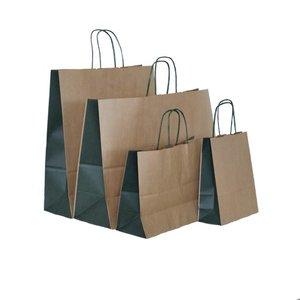 Levering uit voorraad 50 x Papieren tassen bruine kraft bio color groen