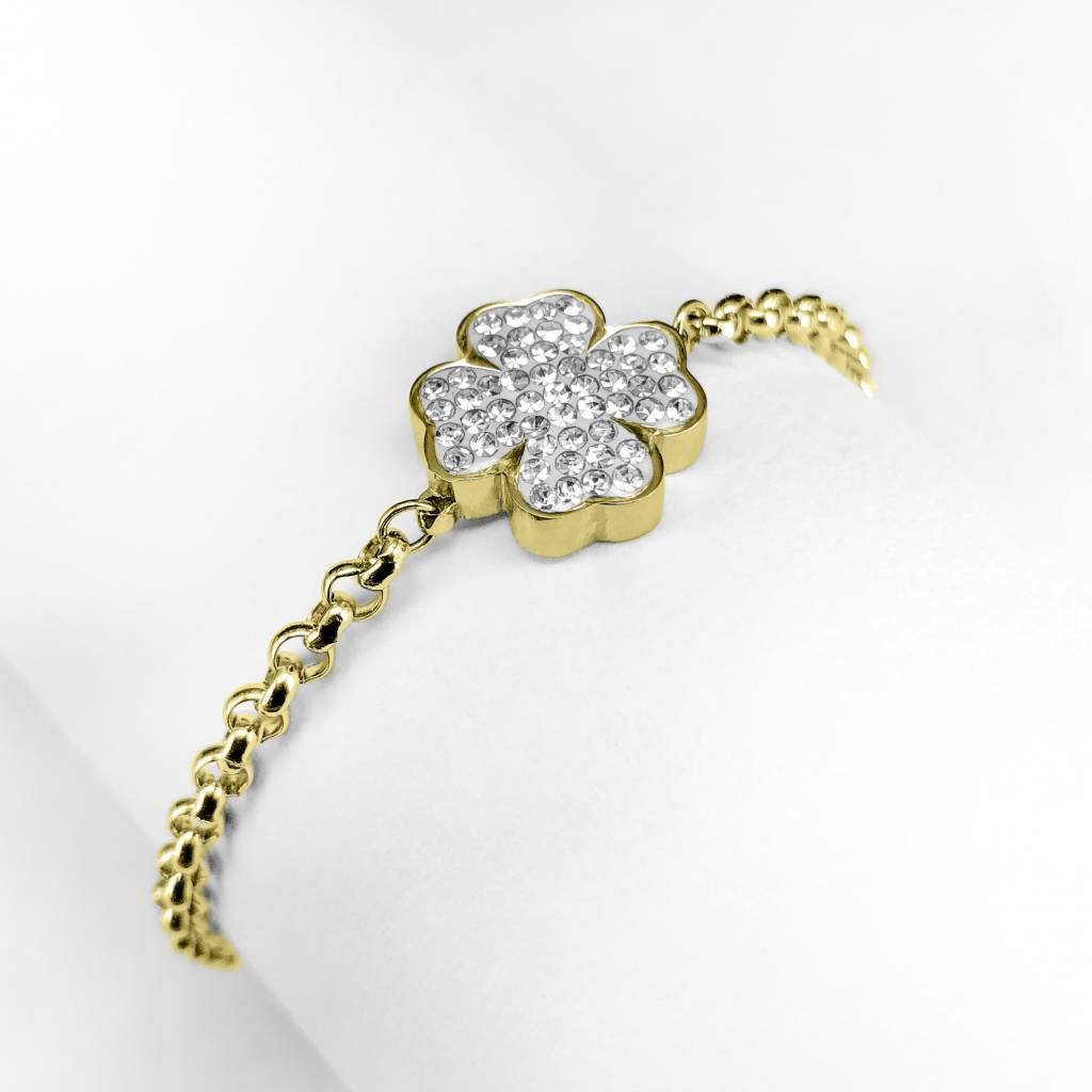 Bracelet four-leaf clover with cz stones