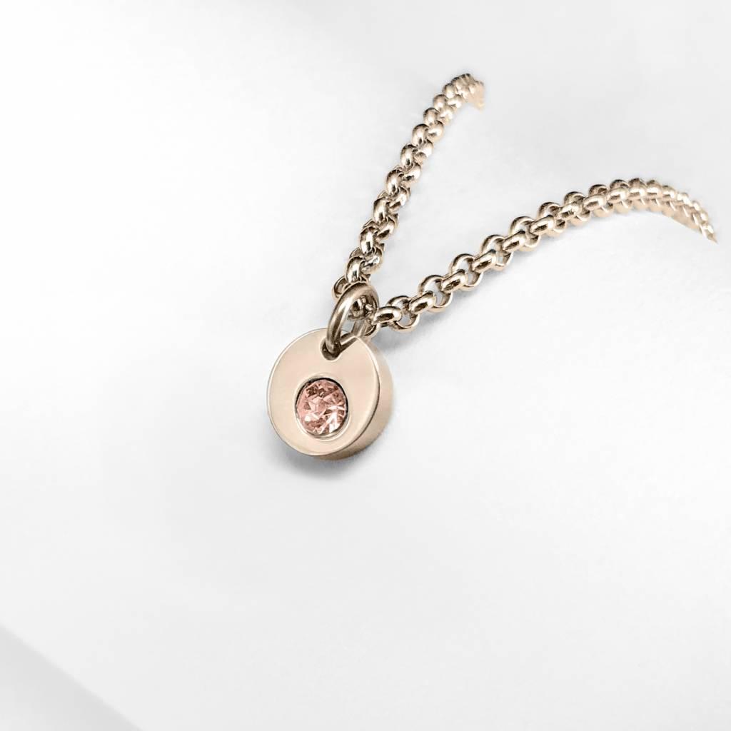 Mini pendant with zirconia peach color