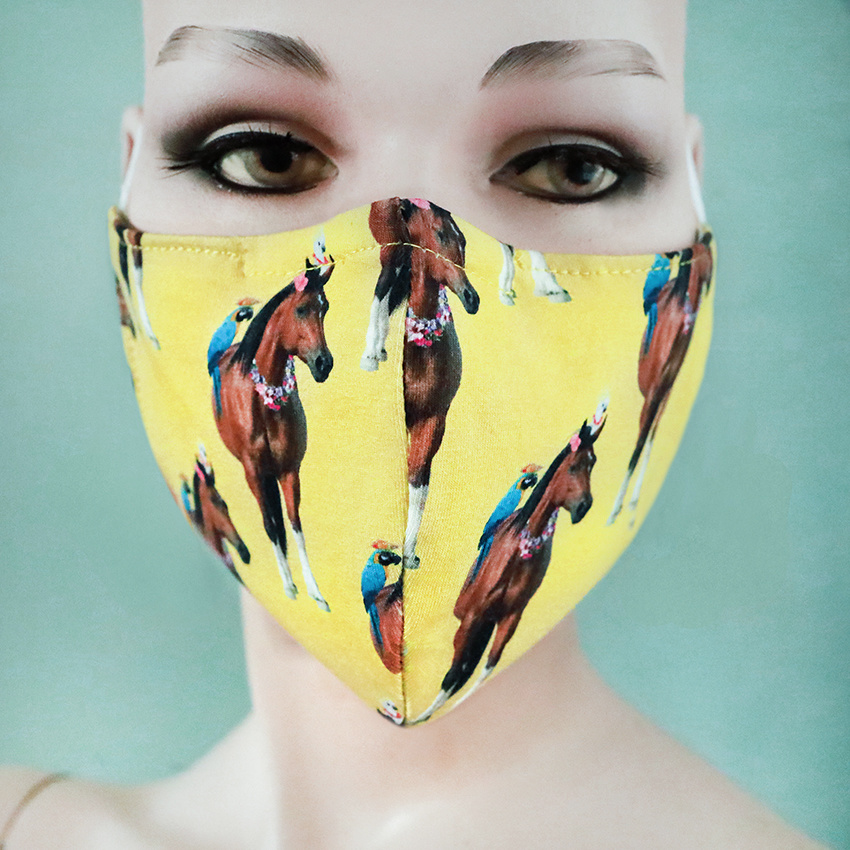 Gesichtsmaske Pferde gelb