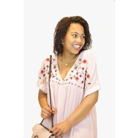 Embroidered Floral Rosy Dress