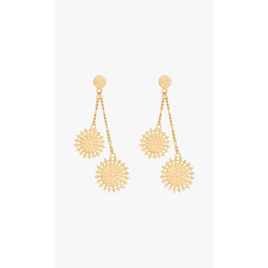 Double Coin Earrings Gold