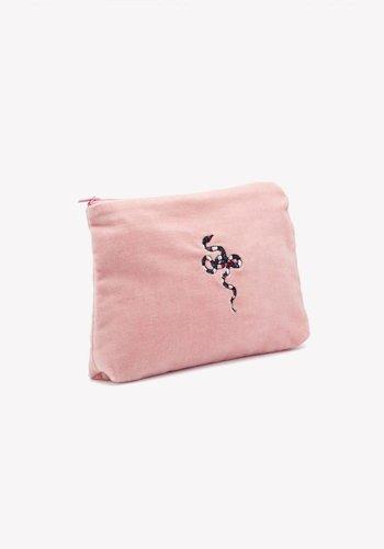 Snake Velvet Pouch Dusty Pink