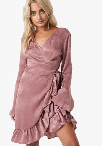 Sofia Wrap Frill Dress - Old Rose