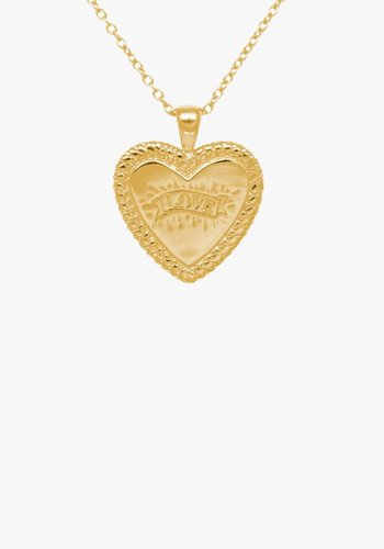 Statement Snake Print Heart Necklace Gold