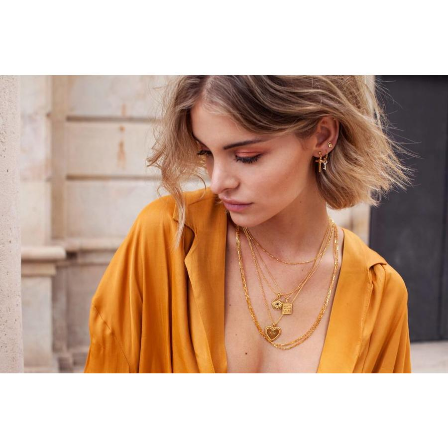 Cross Heart Earring Gold
