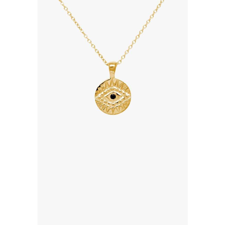 Black Zirconia Eye Necklace Gold