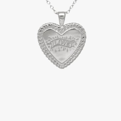 Statement Snake Print Heart Necklace Silver
