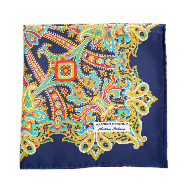 Silk Pocket Square hand rolled & stitched edges