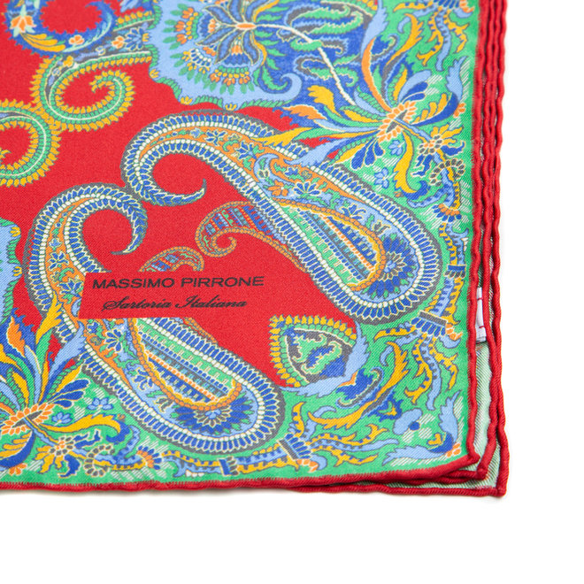 Silk Pocket Square hand rolled edges