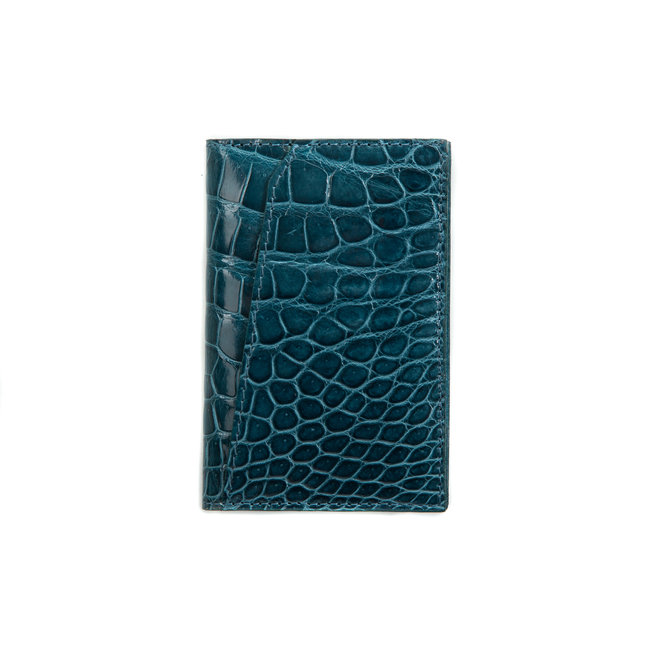 Bifold  cardholder ocean blue - high quality alligator - Handmade