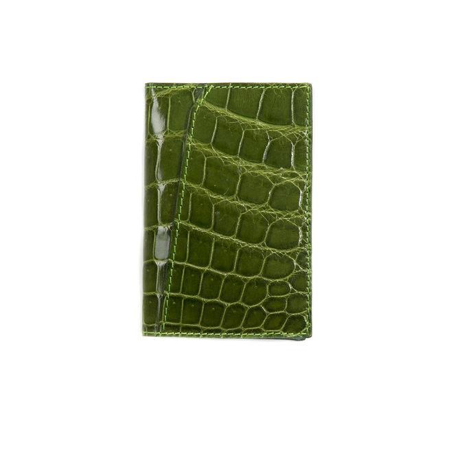 Bifold  cardholder verde pistacchio - high quality alligator - Handmade