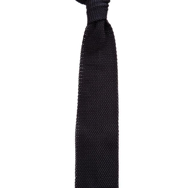 3 FOLD GREY TIE  KNITTED UNLINED SILK -  HANDMADE IN ITALY