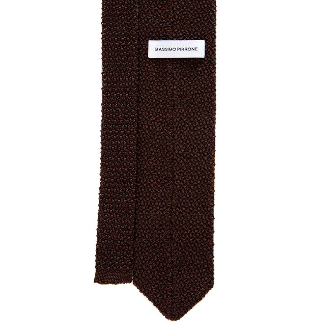 3 FOLD BROWN TIE POLKA DOT  UNLINED -KNITTED -  HANDMADE IN ITALY