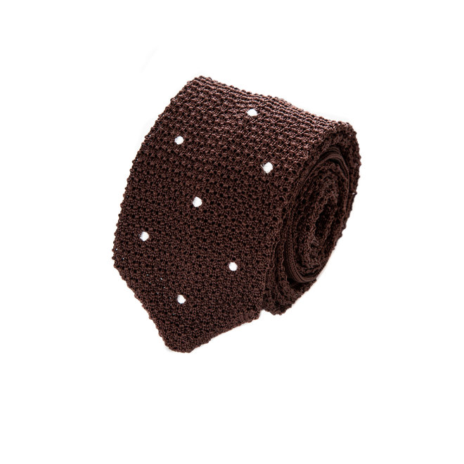 3 FOLD BROWN POLKA DOT UNLINED  - KNITTED SILK