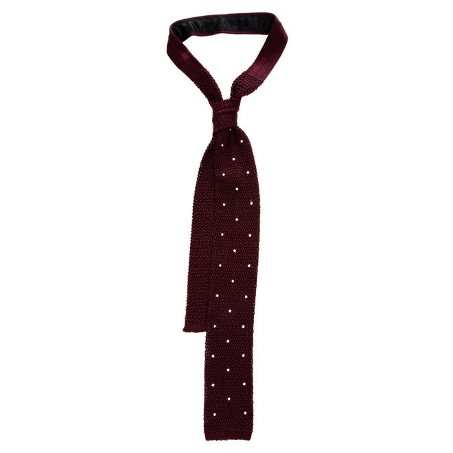 3 FOLD BURGUNDY TIE POLKA DOT  UNLINED -KNITTED -  HANDMADE IN ITALY