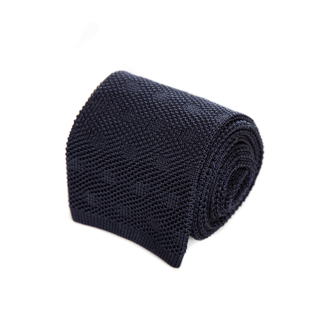 3 FOLD  NAVY TIE   UNLINED -KNITTED - HANDMADE IN ITALY